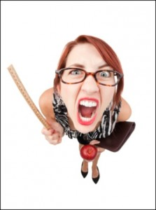 A fisheye image of mean teacher yelling and waving a ruler.